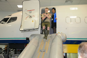 Experience a simulated airplane evacuation